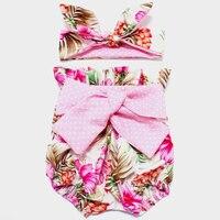 Hot verkoop Pasgeboren Baby bloeiers bloemen Baby meisjes shorts + Hoofdband kleding sets luier covers zuigeling shorts ruches bloeiers