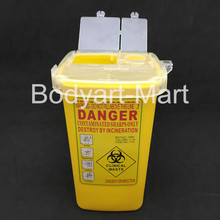 1L Yellow Plastic Tattoo Sharps Container For Tattoo Artist Supply SCR-A2#