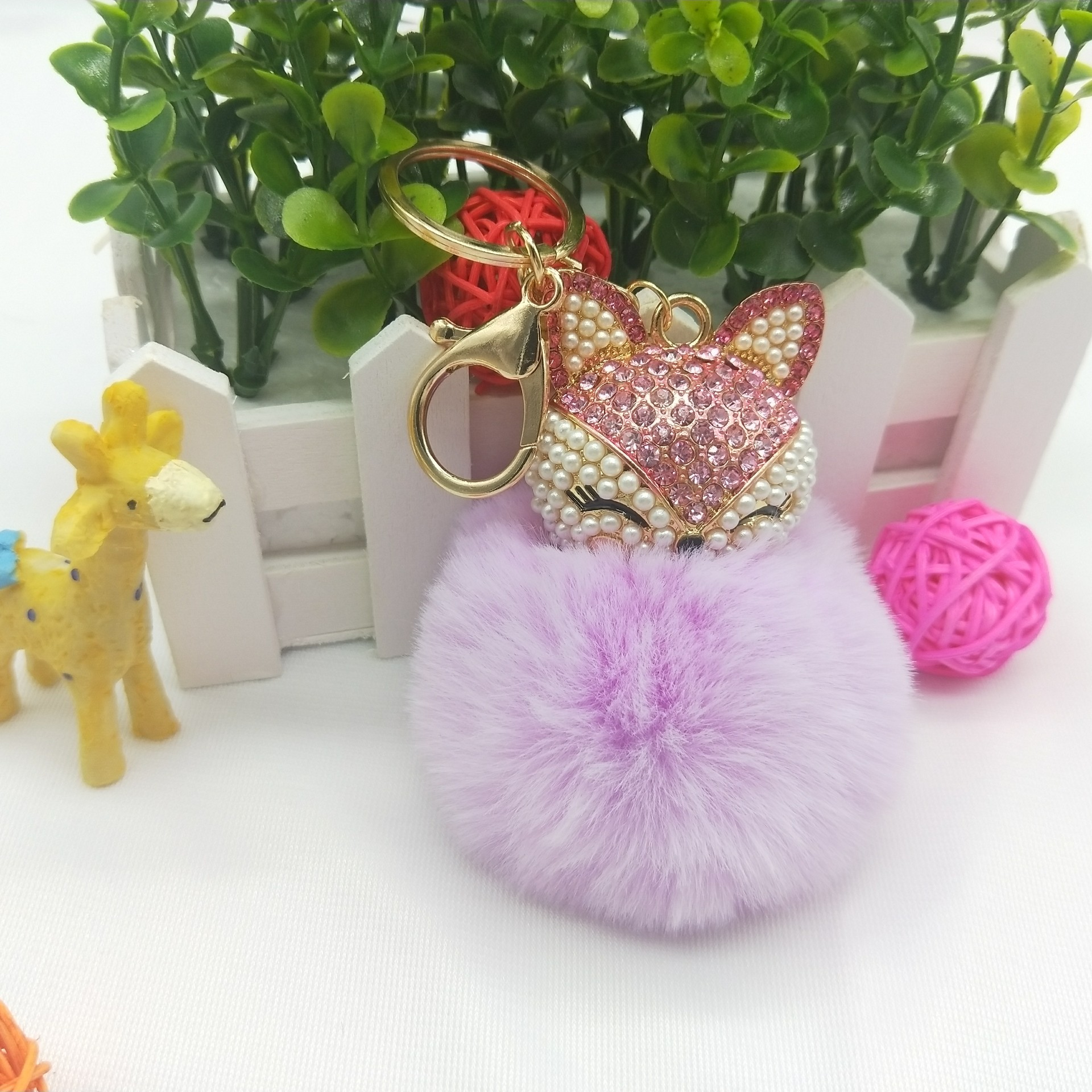 Charms Real Fox Fur Keychain Women Trinkets Suspension On Bags Car Key Chain Key Ring Toy Gifts Llaveros Jewelry Apparel Accessories