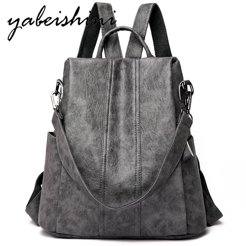 Nova mochila feminina de couro multifuction bagpack casual anti roubo mochila para adolescentes meninas mochila 2019 sac a dos