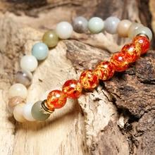 HOBBORN Trendy 8mm Amazon Beads Strand Women Bracelet Handmade Chakra Elasticity Men Bracelets Yoga Meditation Jewelry