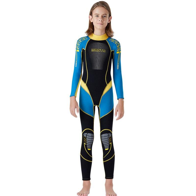 New Wetsuit Children for Boys Girls Keep Warm Long Sleeves UV Protection Swimwear One-piece 2.5 MM Neoprene Kids Diving Suit - Цвет: Синий