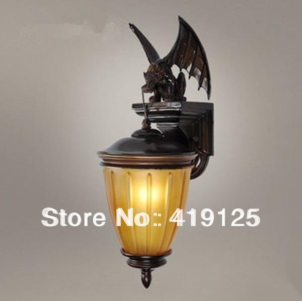 Free Shipping Full Resin Drawing Tan Bat Wall Lamp