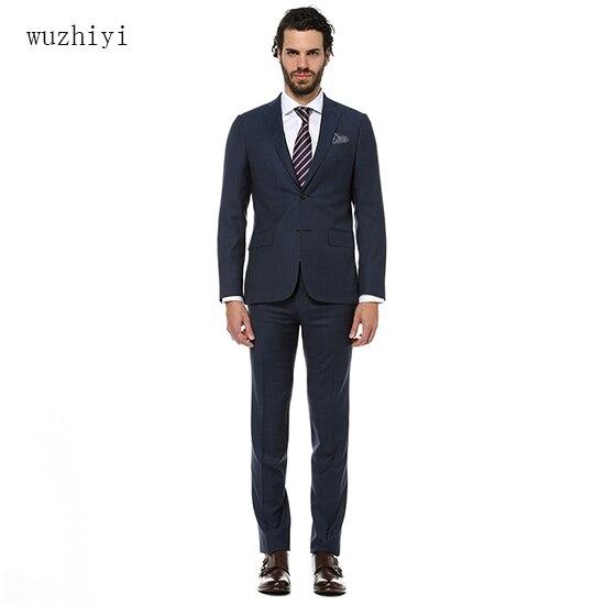 Wuzhiyi мужской костюм Однобортный без каблука Slim Fit Свадебные Жених мужчин костюм для masculino самые последние модели брюк для костюма 2 шт.