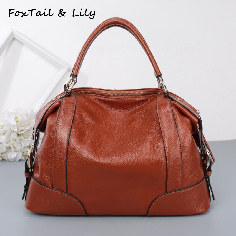 FoxTail & Lily Women Real Leather Bag Fashion Designer Handbags High Quality Genuine Leather Ladies Shoulder Messenger Bags