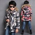 Камуфляж мальчиков зимняя куртка хлопка ватник средней длины дети верхняя одежда пальто меховой воротник капюшоном теплый дети мальчик зимнее пальто