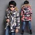 camouflage boys winter jacket cotton padded medium-long kids outerwear coat fur collar hooded warm children boy winter coat