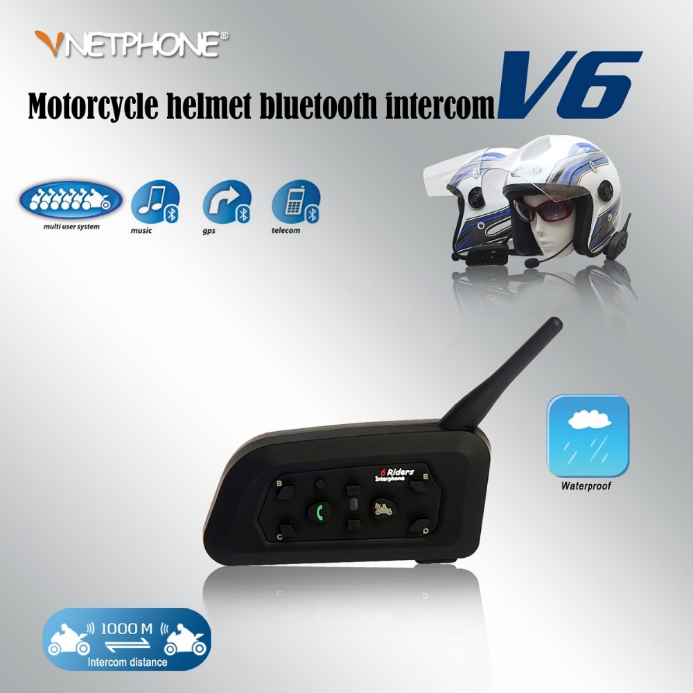 A pair V6 Bluetooth Motorcycle Helmet Intercom Accessories Speaker 1200m 6 Riders Interphone Headset Support MP3 Music GPS vnetphone 5 riders capacete cascos 1200m bt bluetooth motorcycle handlebar helmet intercom interphone headset nfc telecontrol