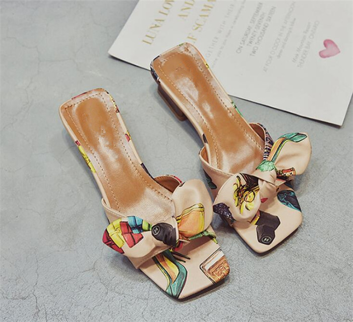 3b9385da6afee3 ... Sandals satin open 2018 fashion heel word summer med chunky wear female  drag flat bow scuffs ...