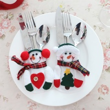 Hot Worldwide 2pcs Xmas Decor Snowman Kitchen Tableware Holder Pocket Dinner Cutlery Bag