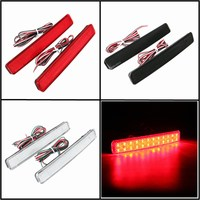 2x 24 LED Auto Rear Reflectors Bumper Tail Fog Lamp Brake Stop Night Running Lights Driving