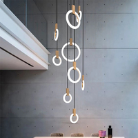 Modern LED chandelier nordic living room pendant lamp bedroom fixtures staircase lighting loft illumination long hanging lights