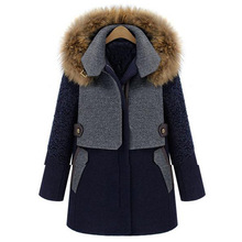 2016 Hot Sale Special Offer Wide-waisted Zipper Full Long Patchwork Coats Manteau Raccoon Coat Really Zhongchang Add Color