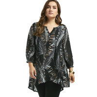 Long Sleeve Feather Print Plus Size Tunic Top