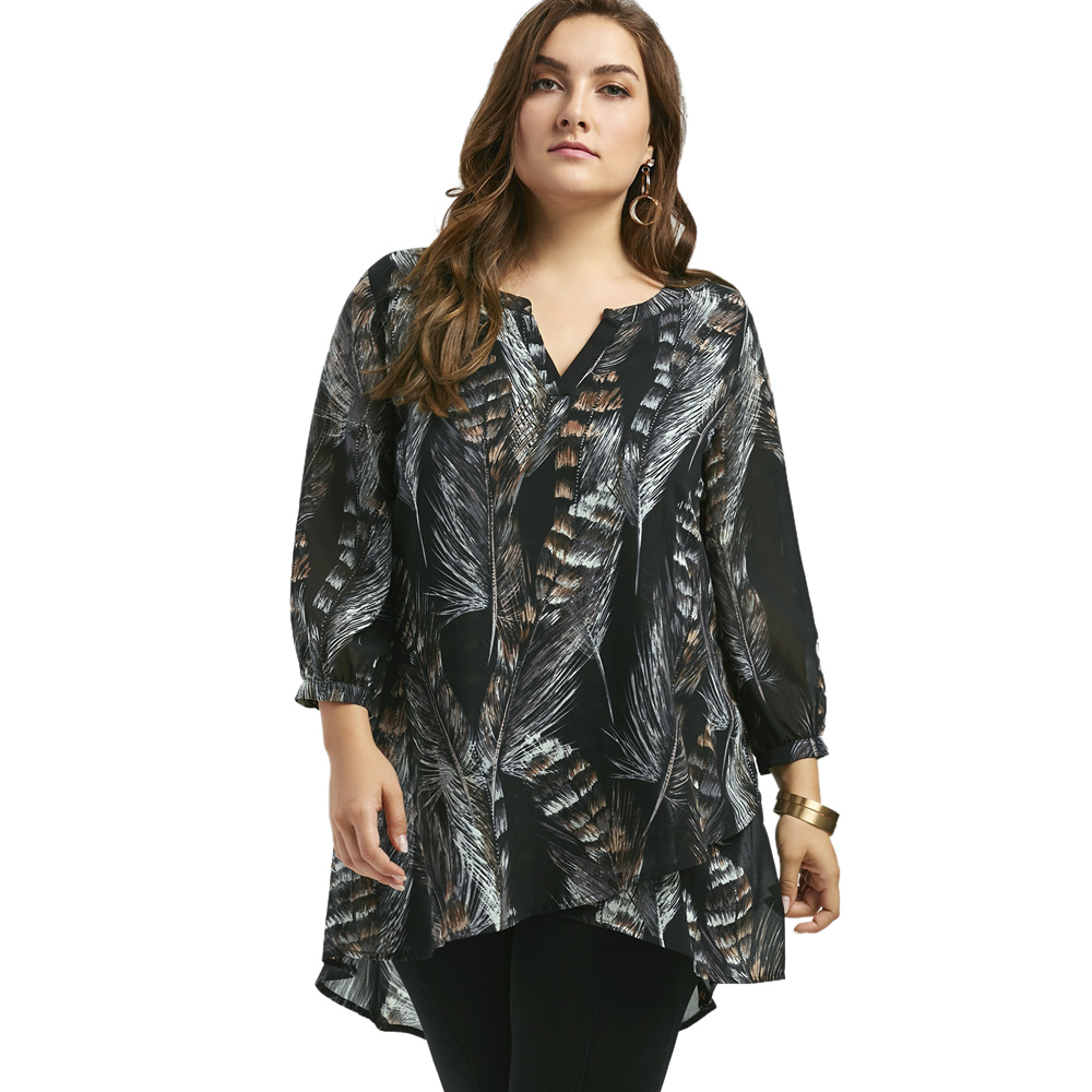 LANGSTAR 2017 New Autumn Fashion Feather Print Big Size Women Long Shirts Long Sleeve V Neck Plus Size Tunic Top XL-5XL nautica new blue long sleeve v neck pajama top m $32 dbfl
