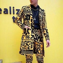 Mannen Slim Fit Blazer Geel Jasje Nachtclub Podium Zanger DJ Kleding Heren Colberts Lange Casual Suits Blazer Masculino
