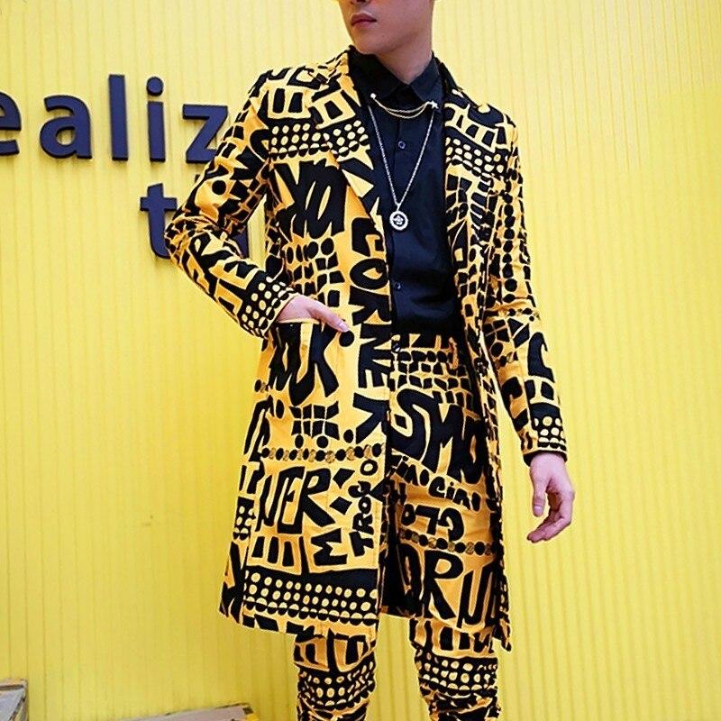 Men Slim Fit Blazer Yellow Suit Jacket Nightclub Stage Singer DJ Clothes Heren Colberts Long Casual Suits Blazer Masculino