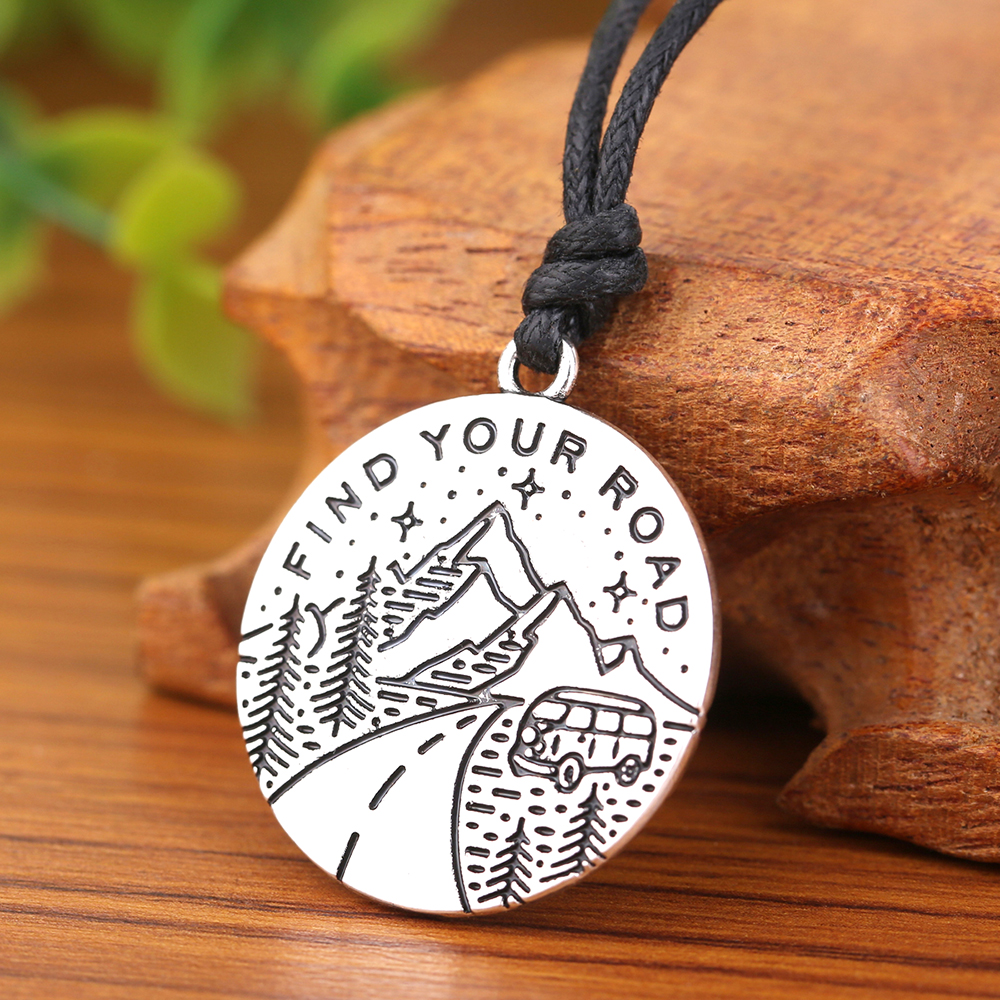 Dawapara Find Your Road Mountain And Tree Bus Round Pendant