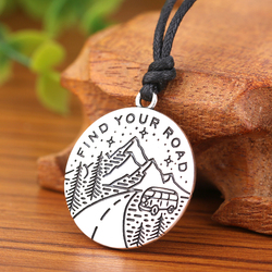Dawapara Find Your Road Mountain And Tree Bus Round Pendant Necklace Men Jewelry