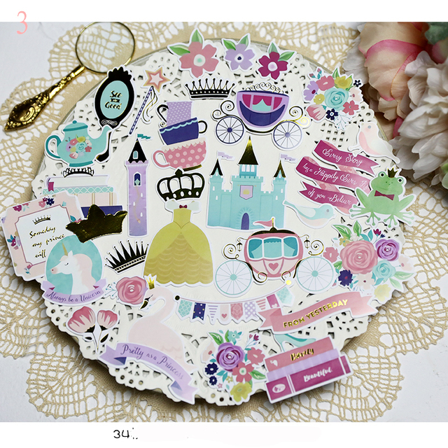 34pcs Princess story Cardstock Die Cut Stickers for Scrapbooking Happy Planner/Card Making/Journaling Project