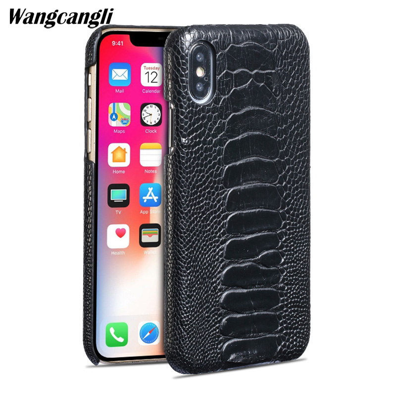 Wangcangli Luxury leather phone case for iPhone X rare ostrich foot skin phone case mobile phone protection back shell