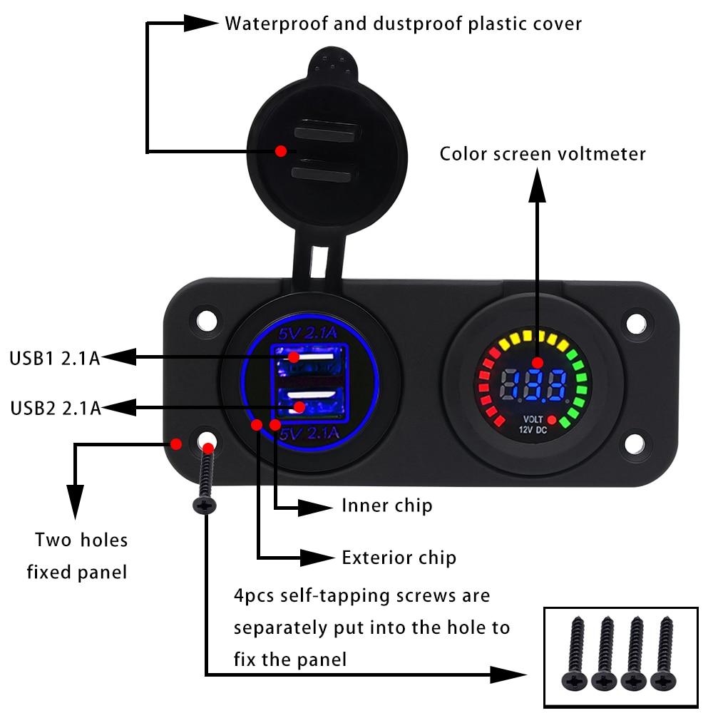 12-24V 4.2A Podwójne gniazdo zapalniczki samochodowej Splitter - Części samochodowe - Zdjęcie 2
