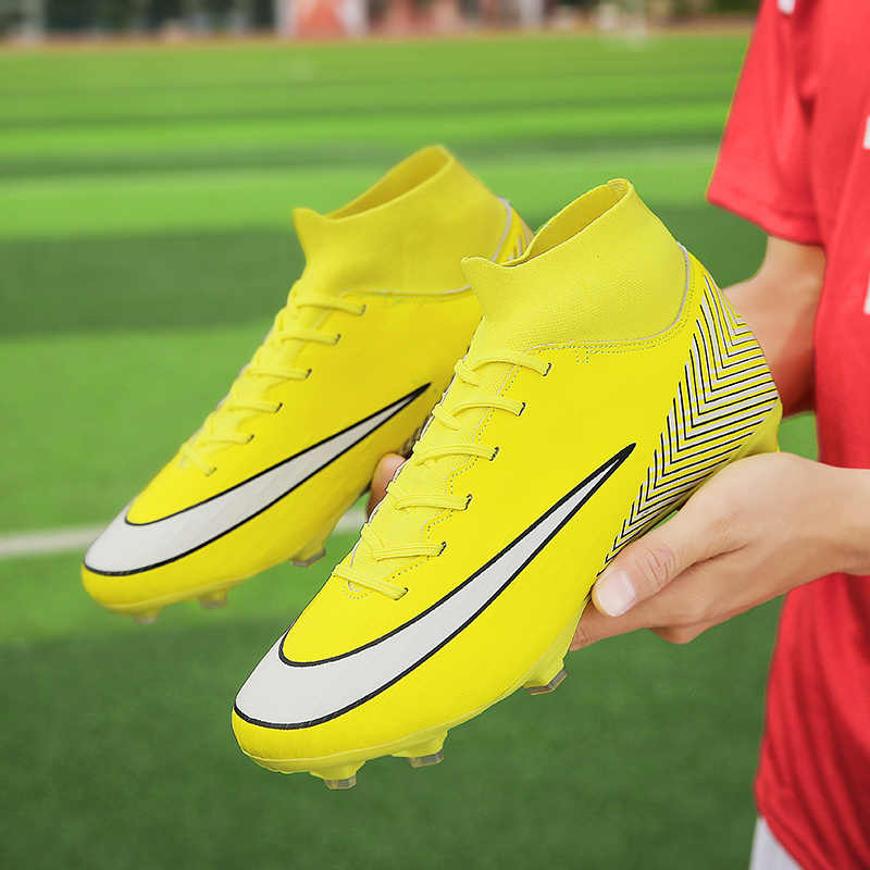 89eaddecea2b Men Soccer Shoes High Top Turf Sneakers Professional Trainers New Design  High Top Long Spikes Football