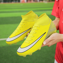 Men Soccer Shoes High Top Turf Sneakers Professional Trainers New Design Long Spikes Football Chuteira Futebol