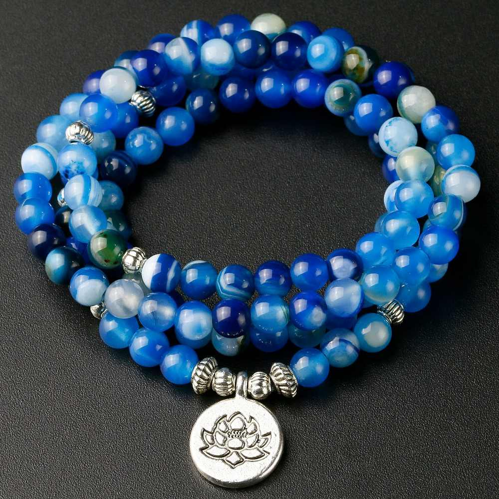Handmade Jewelry Blue line Onyx 108 Mala Necklace & Bracelet Meditation Gem-stone Lotus Prayer Beads Bracelet Women Men