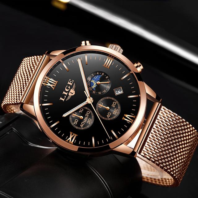 Relogio Masculino Mens Watches Top Brand LIGE Luxury Business Quartz Watch Men Steel Mesh Strap Casual Waterproof Sport Watch