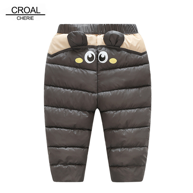 f83b6516db639 CROAL CHERIE 80-130cm Warm Thicken Baby Boys Cotton Pants Kawaii Bear Ear Winter  Girls Trousers Children Clothes
