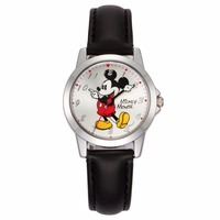 Disney Brand Original Girls Boys Watches Leather Quartz Cartoon Mickey Mouse Students Children Clocks Casual Waterproof