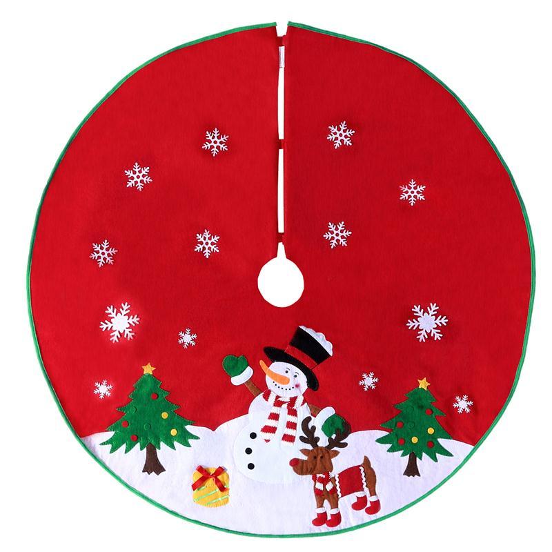 Bestoyard Non-tessuto Di Natale Albero Di Natale Gonna Cerchio Pupazzo Di Neve Di Base Del Modello Di Copertura Decorazione Grembiule Wrap (rosso)