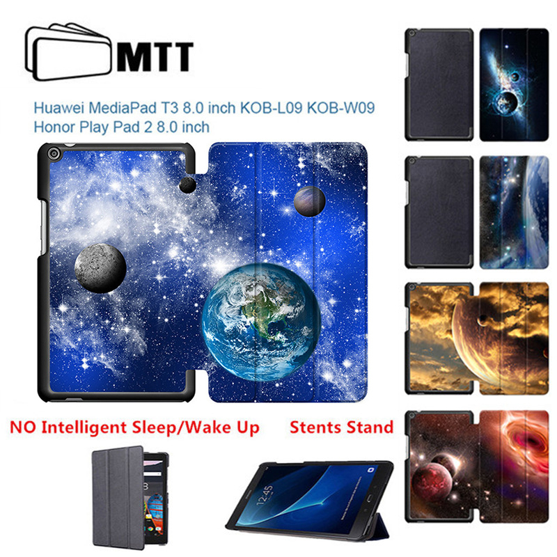 Cosmic Space Slim Folding Pu leather Case For Huawei Media Pad T3 8.0 Cover Stand Case Tablet PC Protective for huawei t3 8 inch