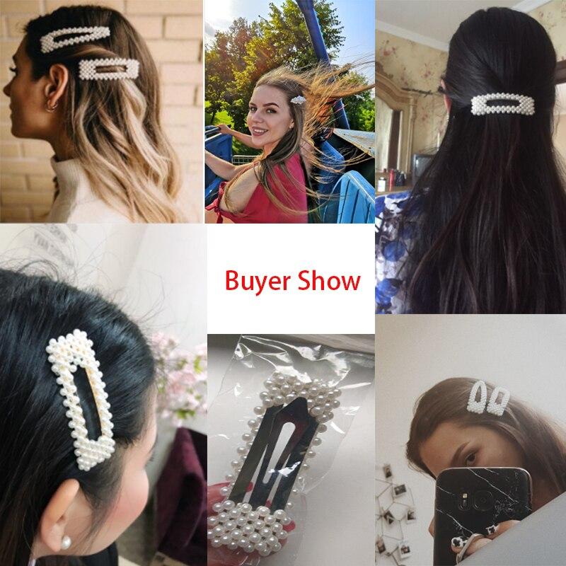 Korean Simulated Pearl Barrettes Beaded Geometric Women Hair Clip Hairgrips Hair Accessories Girls Jewelry Fashion Hair Pins