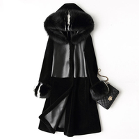 Women S Real Wool Shearling Coat With Fox Fur Hood Reversible Double Wear Thick Natural Fur