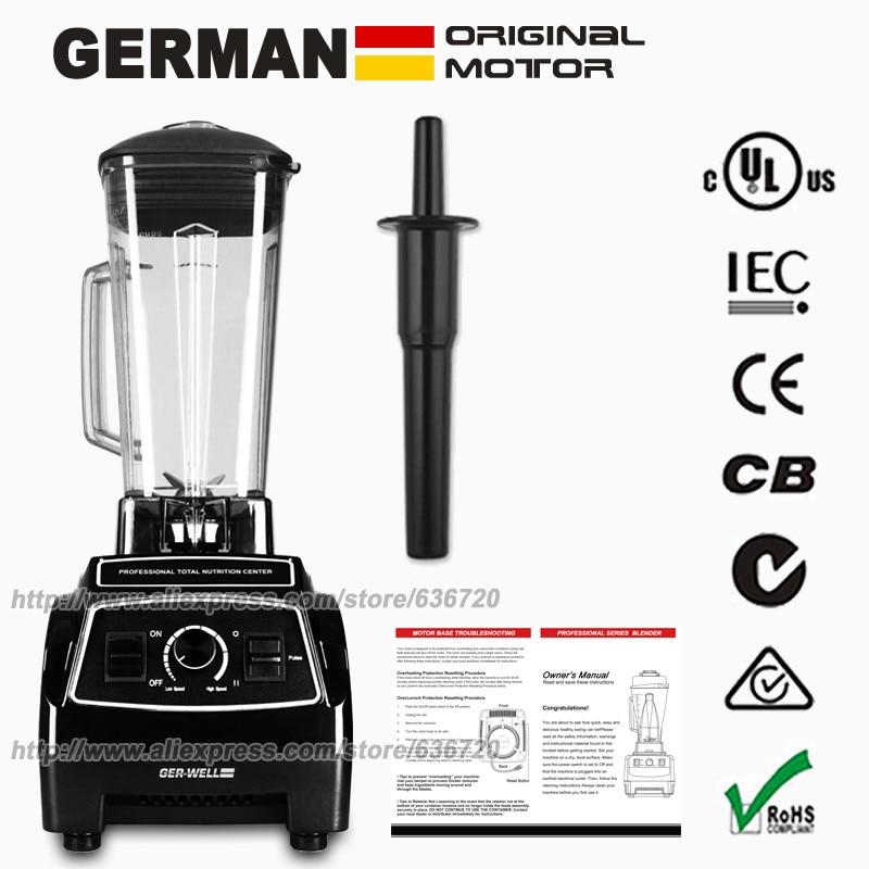 100% technologie de moteur allemand 3HP 2200W sans BPA 2L presse-agrumes mélangeur glace smoothie et presse-agrumes robot culinaire mélangeur Commercial