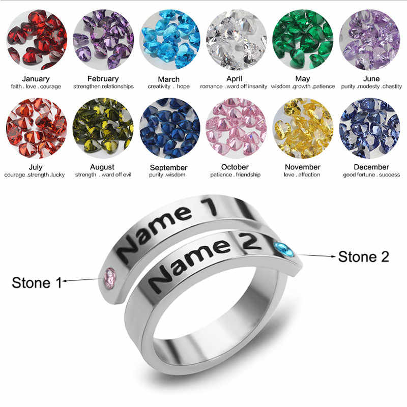 Best Selling Custom Name Double Line Ring Personalized Custom 12 Colors Rhinestones Gold And Silver Rose Gold Ring Jewelry Gift