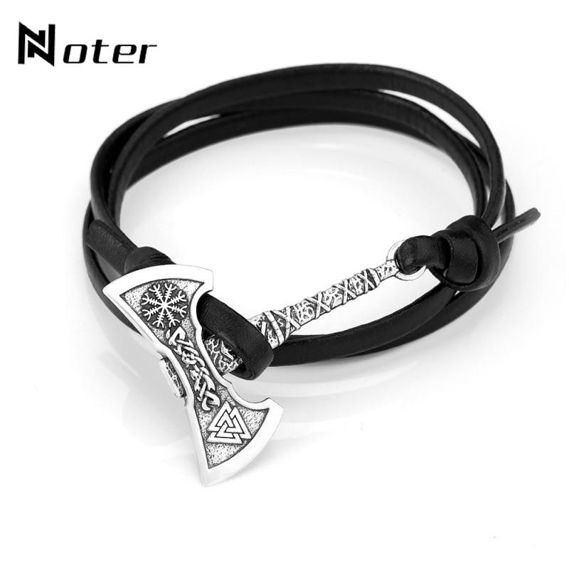 Noter Mens Ax Viking Bracelet Antique Hatchet Braslet Handmade Braided Multilayer Leather Pirate Bracelet For Male Hand Jewelry