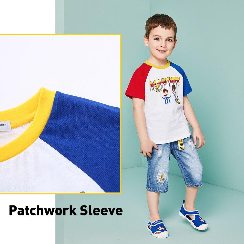 BALABALA летняя футболка для мальчика Кубок мира рисунком детская хлопковая Футболка короткий рукав футболки Лоскутная Топ Мальчики ткань