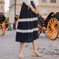 INMAN 2019 Summer's New Arrival A Line Stripped Long Women Fashion Elegant Skirt