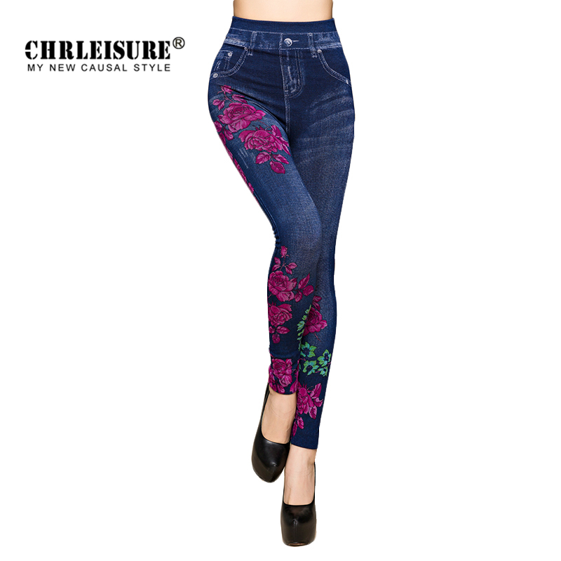 CHRLEISURE Autumn Jeans Leggings Women Cotton Flowers Printed Hip Up Woman Jeggings Ladies Fake Jeans Blue Leggings Legency