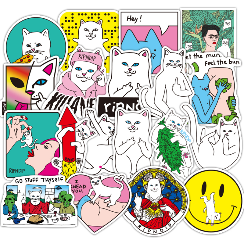 AQK 50 Pcs Fashion Ripndipp Stickers Graffiti Funny Cool Rip N Dip Sticker For Skateboard Luggage Laptop Guitar Fridge Car Decal