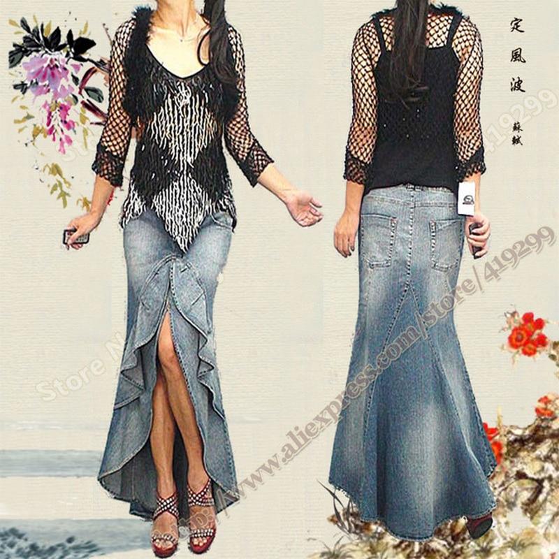 Spring and Summer Vintage Retro Sexy Asymmetrical Ruffle Fishtail Mermaid Denim Female Long Maxi Skirts Womens