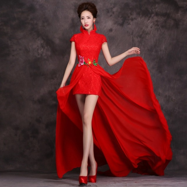 women red embroidery backless modern design cheongsam qipao 2017 ...