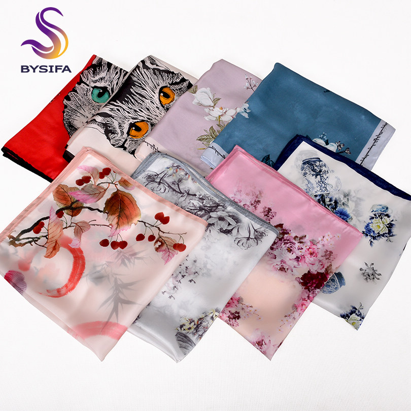 2016 Quality Silk Small Facecloth Women Square Silk Scarf Hot Sale Spring And Autumn Mulberry Silk Scarf Flower Pattern Scarf