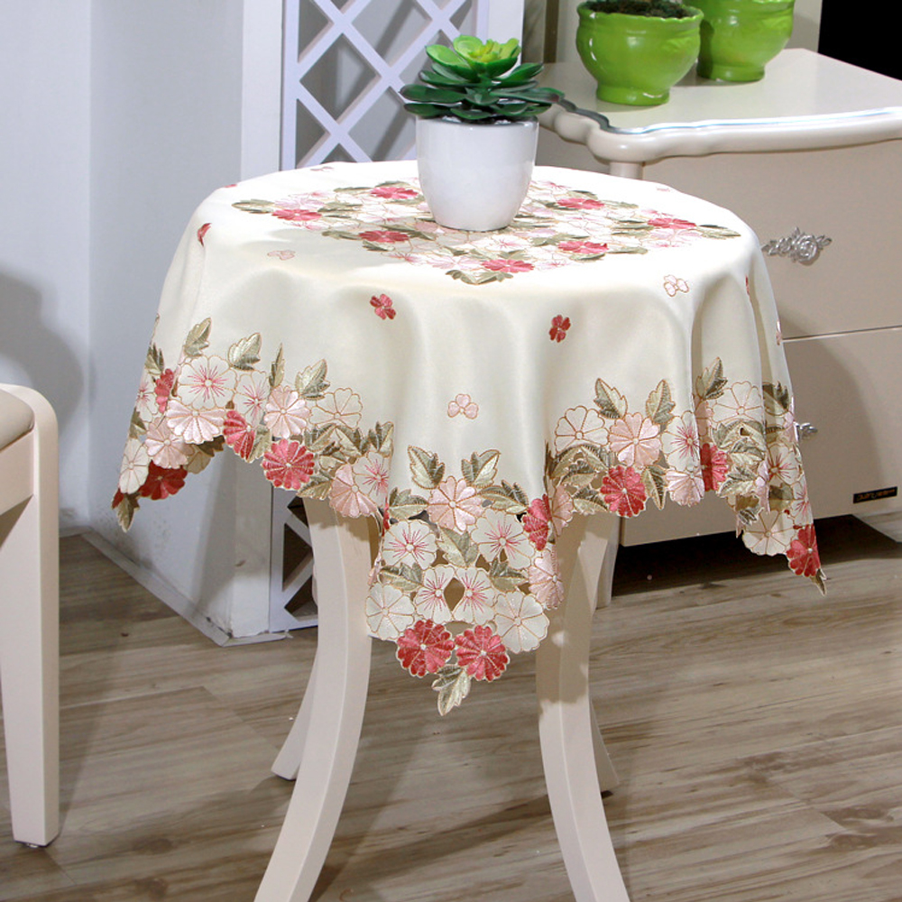Yazi Embroidered Daisy Floral Cutwork Tablecloth 85x85cm Square Table Cover  Wedding Party Decor