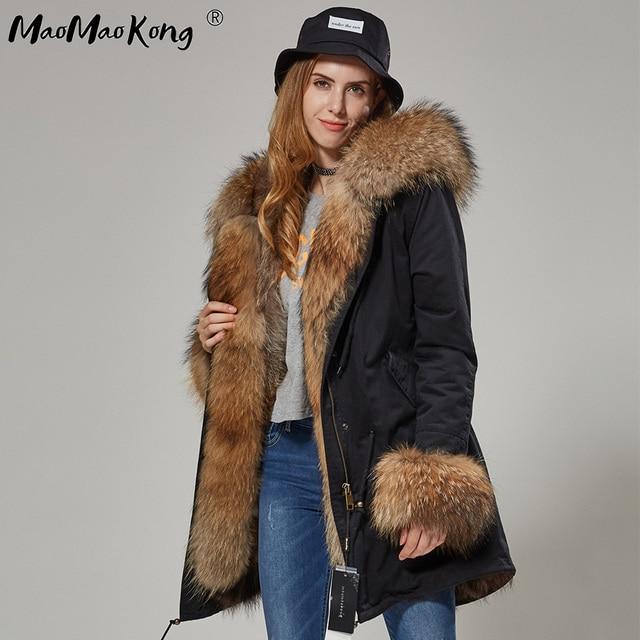 womens fox fur coat parkas winter jacket coat women parka big real fur collar kurtka damska natural fox fur liner long outerwear 3