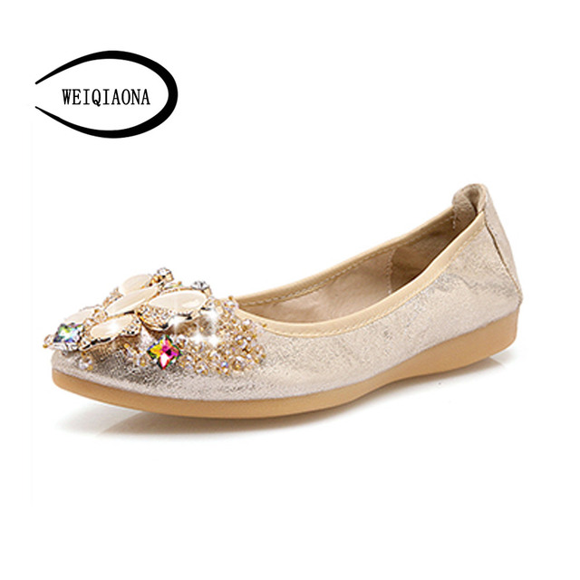 latest discount entire collection new collection € 27.06 |WEIQIAONA grande taille 33 45 papillon cristal femmes appartements  bout pointu ballerine fond souple oeuf rouleaux chaussures mode femmes ...