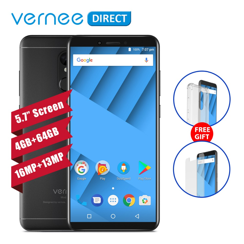 Original Vernee M6 Telephone 5 7 Inch 4GB RAM 64GB ROM MTK6750C Octa Core 13MP 16MP